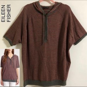 Eileen Fisher Hooded Striped Wool Sweater Top